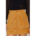 Suede Rivet Detailed Double Pockets Buttons Down Mini Skirt