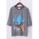 Gray Round 1/2 Sleeves Loose Abstract Character Print Tee