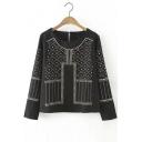 Fashion round Neck Rivets Detailed Keyhole Back Blouse