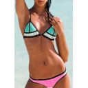Colored Contrast-Trim Hipster Bikini