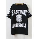 Punk Style Round Neck Half Sleeve Loose Longline Tee With Letter&Animal Print