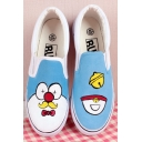 Hand-Painted Doraemon Canvas Round Toe Sneakers For Women