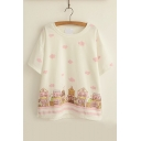 Cute Colorful Print Round Neck Short Sleeves Loose Tee