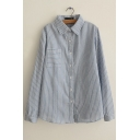 Striped Lapel Long Sleeves Button Down Loose Shirts &Blouse