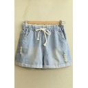 Drawstring Waist Ripped Rolled-up Denim Shorts