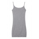 Plain Cotton Sheath Mini Cami Dress