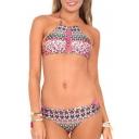 Tribal Print Halter Crisscross-Strap Bikini