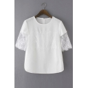White Round Neck Lace Embellish Sheer Sleeve Chic Zipper Back Blouse
