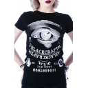 Inverted Letter Print Round Neck Short Sleeves Top