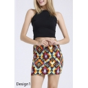Fashionable Pattern Print Mini Pencil Skirt
