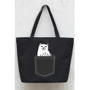 Women Fashion Pocket Cat Print Shoulder Shopping Bag