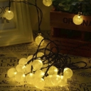 Warm White 30 Pics Crystal Ball Solar Powered Oudoor String Party Lighting Set