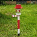 Cute Red Snowman Super Bright 1 LED Cool White Holiday Decorative Garden Stake