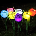 Set of 4 Tulip Solar Powered Garden Stake Landscape Lighting