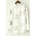 Kawaii Animal Print Long Sleeve Lapel Button Down Shirts