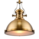 Antique Brass Nautical Pendant Light with Frosted Diffuser