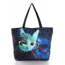 Women Galaxy & Cat Print Street Style Shoulder Shopping Bags