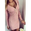 Hot V-Neck Zipper Long Sleeve Plain Bodycon Mini Dress