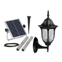 Matte Black 13 Inches Height Outdoor Decorative LED Solar Super Bright Wall Sconce in Traditional Style