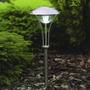 Modern Silver Finish 21'' H Sun Force Outside Lawn Pathway Lighting with Umbrella Shade