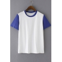 Color Block Round Neck Short Sleeve Casual Tee