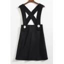 Plain Crisscross Button Short Overalls Dresses