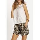 Women Leopard Print Elastic Waist Culottes Short Pants Shorts