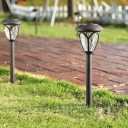 Set of 2 Light Sensor Solar Powered LED Garden Path Light in Grey Finish