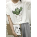 Cactus Embroidered Bell Sleeves Loose Fit Tee