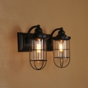 Double Light LED Wall Sconce in Matte Black with Clear Glass