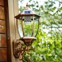 Light Sensor 20 Inches High Antique Bronze Solar Led Outdoor Wall Lamp