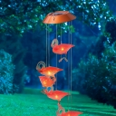 Six Light Red Flamingo Shape Solar Powered Outdoor Garden Decorative Lighting