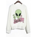 Crew Neck Ribbed Sleeves Alien Print Graphic Sweatshirt