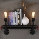 Industrial 22''W Double Light Bookshelf One Layer Pipe LED Wall Light with Red Valve