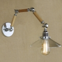 Clear Glass Saucer Shade One Light LED Wall Sconce with Adjustable Wood Arm