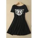 Kitten Print Scoop Neck Short Sleeves Skater Dress