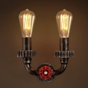 Mottle Rust 2 Light 10 Inches Wide Small Hallway Pipe LED Wall Sconce with Red Valve
