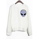 Crew Neck Long Sleeves Alien Print Sweatshirt