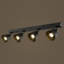 Four Light 40'' W Black Finish LED Spotlight Semi Flush Ceiling Light