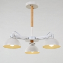 Unique 18'' Wide Small 3 Light LED Chandelier in White Finish