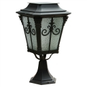 Graceful Black Finish Classic Ripple Glass 17'' H Solar LED Lantern Lighting