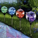 Color Changing Solar Powered LED Crystal Ball 3'' Wide Outdoor Garden Stake Landscape Lighting