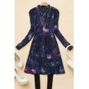 Galaxy Print Ruffled Collared Button Downs Dress