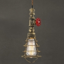 Antique Brass 1 Light Industrial Style Small Pendant with Wire Cage