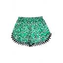 Fashion Summer Beach Women Pom Pom Trim Arrow Print Dolphin Hem Shorts