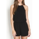 Strapy Round Neck Sleeveless Gathered Waist Keyhole Back Rompers