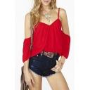 Sexy Cold Shoulder Top in Red