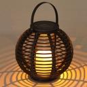 Dusk to Dawn Portable Solar Powered Globe Shape Rattan Outdoor Decorative Table Lamp