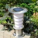 12''H Modern Stainless Steel Weather Proof Light Sensor Solar LED Post Light with Wire Guard