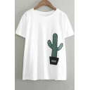 Basic Loose Fit Cactus Print Round Neck Tees